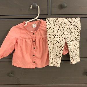 Baby Girls Pink Top & Leopard Leggings Bundle